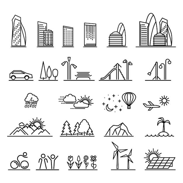 Ensemble d'éléments de paysages urbains et de bâtiments à icônes linéaires Vecteur Premium
