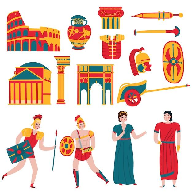 Ensemble D'éléments Et De Personnages De L'empire De Rome Antique Vecteur gratuit