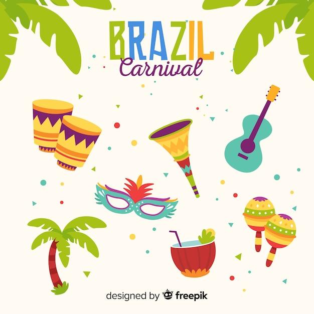 Ensemble d'éléments plats de carnaval brésilien Vecteur gratuit