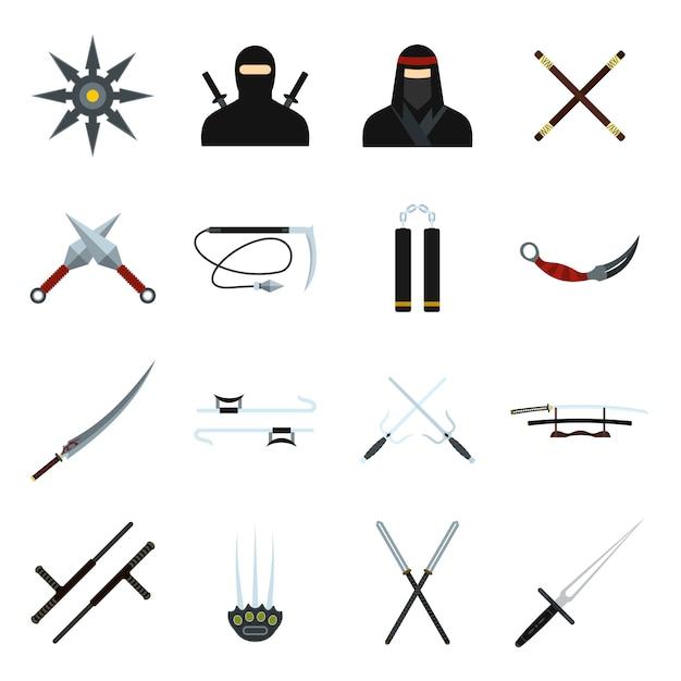 Ensemble d'éléments plats ninja pour le web et les appareils mobiles Vecteur Premium