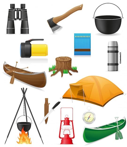 Ensemble d'éléments pour l'illustration vectorielle de loisirs en plein air Vecteur Premium