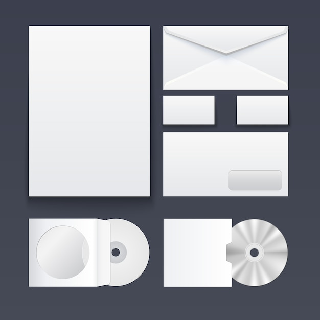 Ensemble d'éléments pour l'image de marque du style corporatif Vecteur Premium