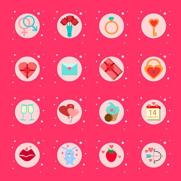 Ensemble D'éléments De La Saint-valentin, Cadeaux, Boîtes De Collection D'éléments De Vacances Romantiques Vecteur Premium