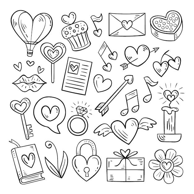 Ensemble D'éléments De La Saint-valentin De Doodle Vecteur Premium