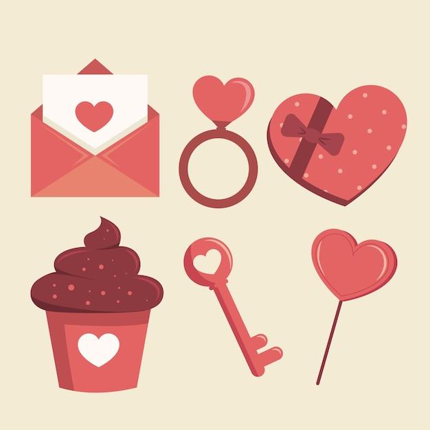 Ensemble D'éléments De La Saint-valentin Vecteur gratuit