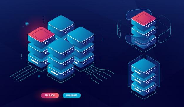 Ensemble d'éléments de salle de serveurs, traitement isométrique de données volumineuses, concept de base de données de centre de données Vecteur gratuit