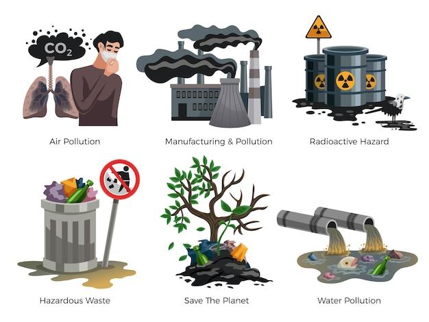 Ensemble D'éléments De Sensibilisation à La Pollution Vecteur gratuit