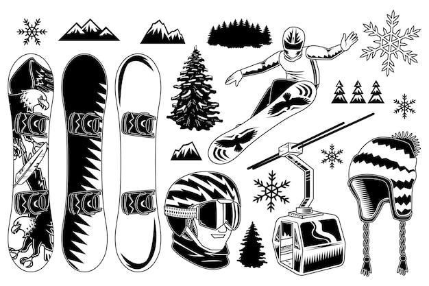 Ensemble D'éléments De Snowboard Vecteur gratuit