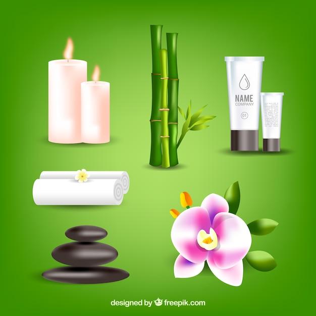 Ensemble d'éléments de spa avec des produits réalistes Vecteur gratuit