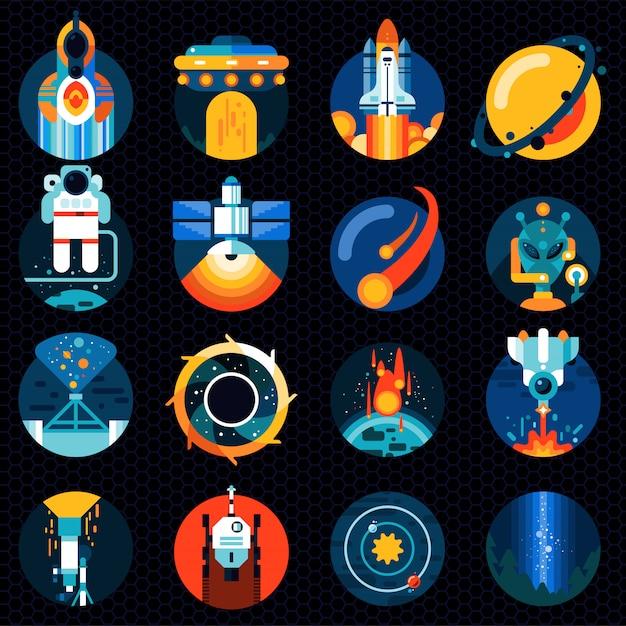 Ensemble d'éléments spatiaux Vecteur Premium