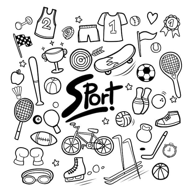 Ensemble d'éléments de sport dans des gribouillis dessinés à la main Vecteur Premium