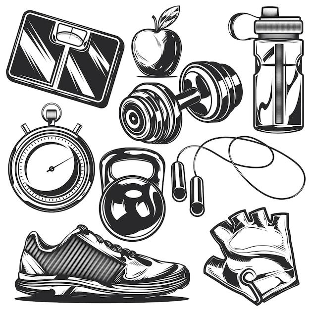 Ensemble D'éléments Sportifs Pour Créer Vos Propres Badges, Logos, étiquettes, Affiches, Etc. Vecteur Premium