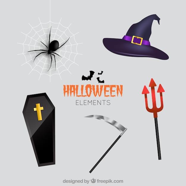 Ensemble d'éléments en style réaliste pour la conception d'halloween Vecteur gratuit