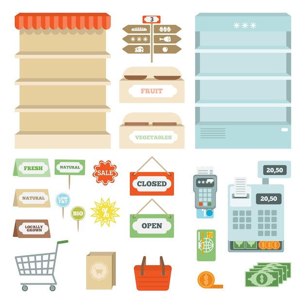 Ensemble D'éléments De Supermarché Vecteur gratuit