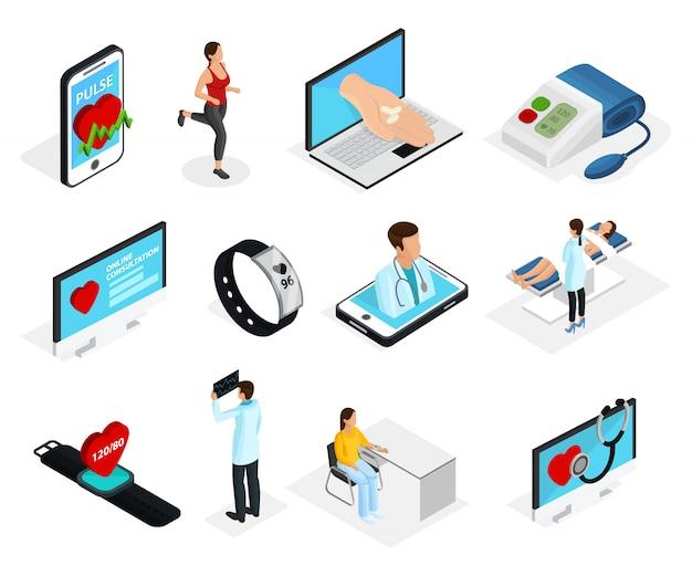Ensemble D'éléments De Surveillance Cardiaque Numérique Isométrique Vecteur Premium