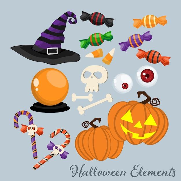 Ensemble d'éléments et de symboles d'halloween. Vecteur Premium