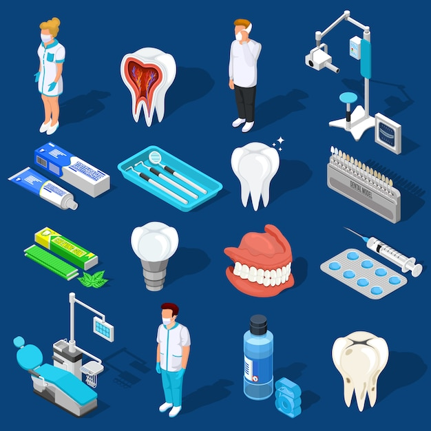 Ensemble d'éléments de travail dentaire Vecteur gratuit