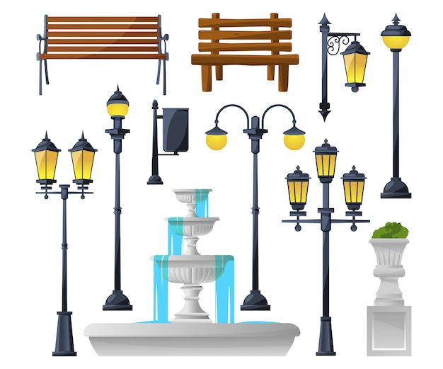 Ensemble d'éléments urbains. lampadaires, fontaine, bancs de parc et poubelles. Vecteur Premium
