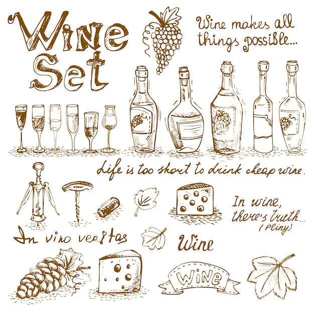 Ensemble d'éléments de vin Vecteur gratuit