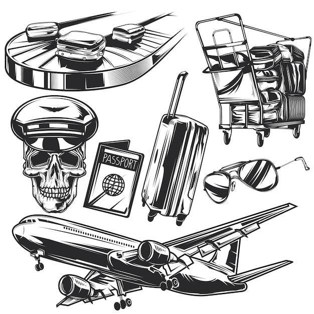 Ensemble D'éléments De Voyage Aérien Pour Créer Vos Propres Badges, Logos, étiquettes, Affiches, Etc. Vecteur Premium