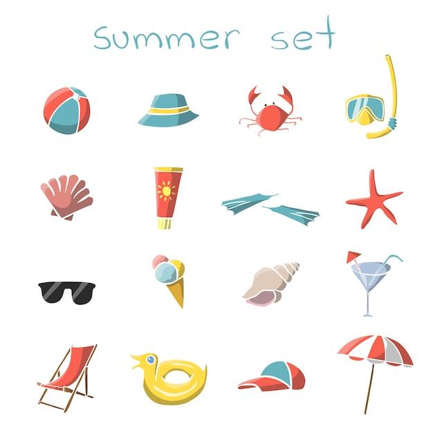 Ensemble d'éléments de voyage de vacances d'été Vecteur gratuit