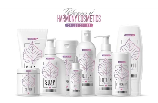 Ensemble d'emballages pour modèles de marque de cosmétiques harmony Vecteur Premium