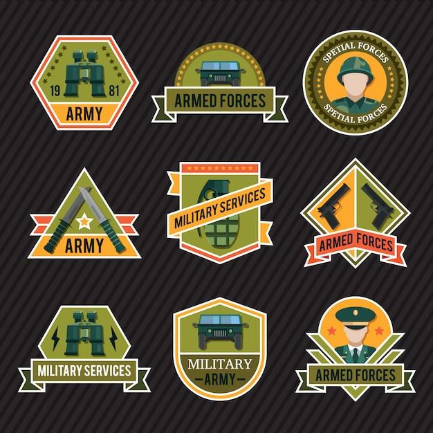 Ensemble D'emblème De L'armée Plate Vecteur Premium