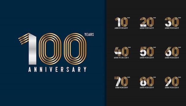 Ensemble d'emblème de célébration d'anniversaire d'or et d'argent. Vecteur Premium