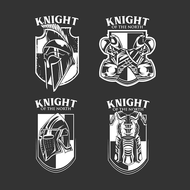 Ensemble d'emblème de chevalier b & w Vecteur Premium