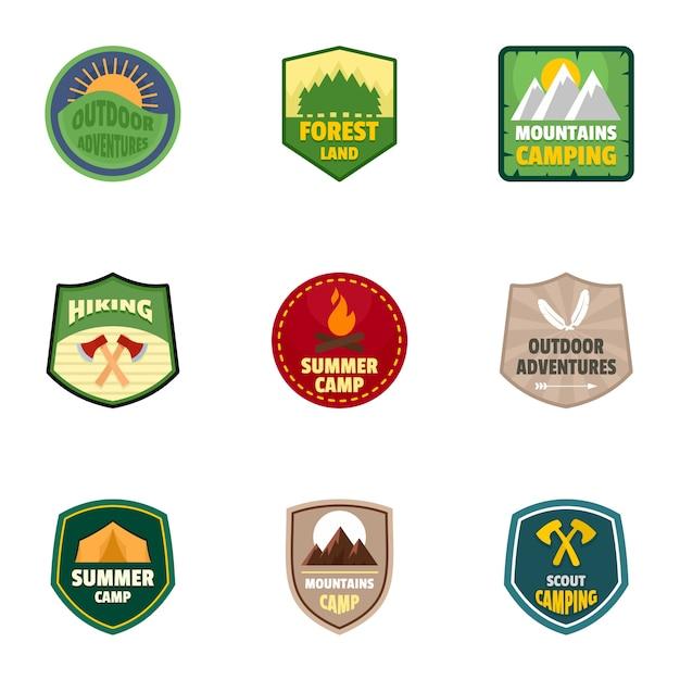 Ensemble d'emblème logo camp d'été, style plat Vecteur Premium