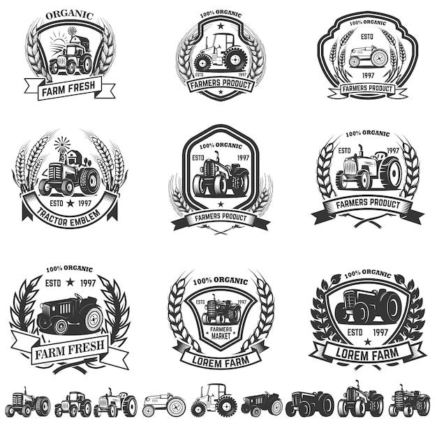 Ensemble D'emblème Avec Des Tracteurs. élément Pour Logo, étiquette, Signe. Illustration Vecteur Premium