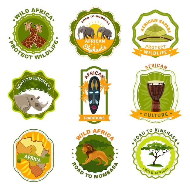 Ensemble d'emblèmes d'afrique Vecteur gratuit