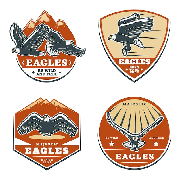 Ensemble D'emblèmes D'aigles Américains Vintage Colorés Vecteur gratuit