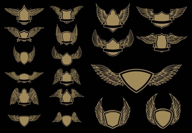 Ensemble D'emblèmes Ailés En Style Doré. élément Pour, étiquette, Emblème, Signe. Illustration. Vecteur Premium