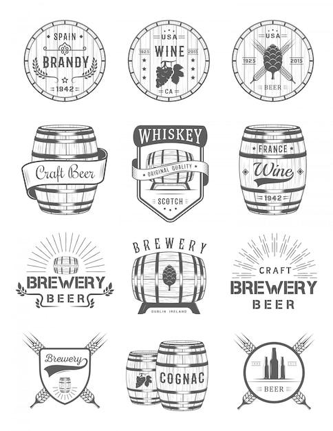 Ensemble D'emblèmes D'alcool Cask Vecteur Premium