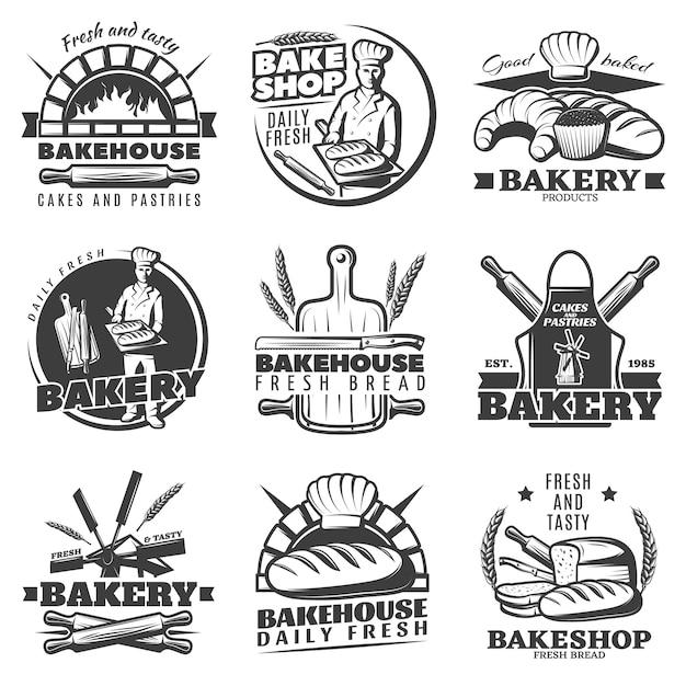 Ensemble D'emblèmes De Boulangerie Vintage Vecteur gratuit