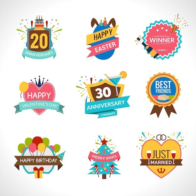 Ensemble d'emblèmes de célébration Vecteur gratuit