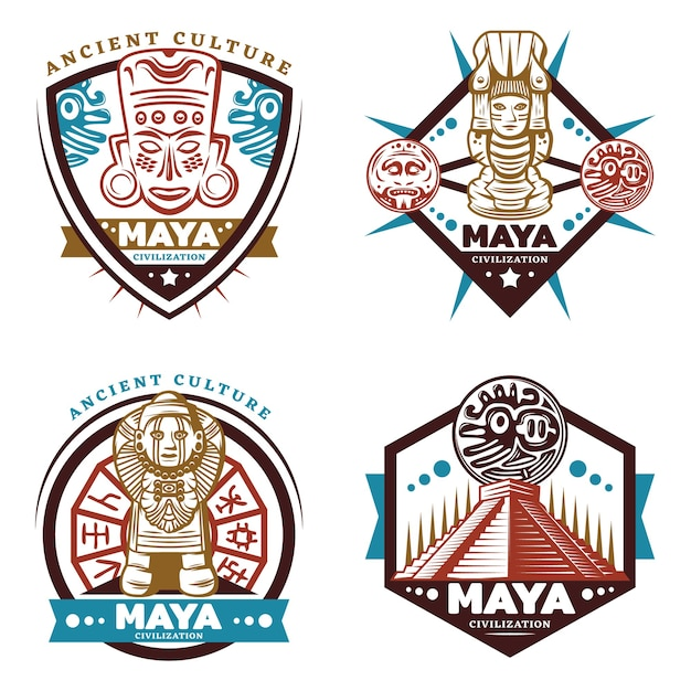 Ensemble D'emblèmes De Civilisation Maya Colorés Vintage Vecteur gratuit