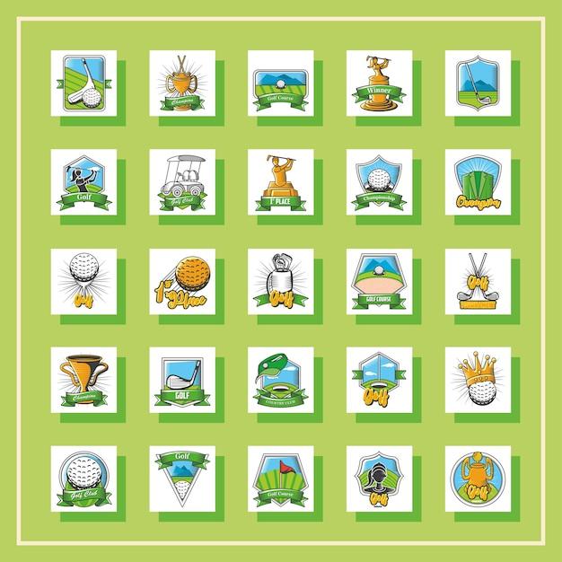 Ensemble D'emblèmes De Golf, De Boucliers, D'étiquettes Et De Badges Sur La Conception D'illustration Verte Vecteur Premium