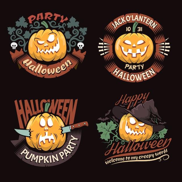 Ensemble des emblèmes d'halloween Vecteur Premium