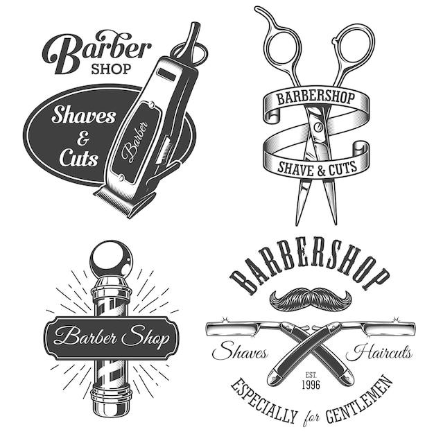 Ensemble D'emblèmes De Salon De Coiffure Vintage Vecteur Premium