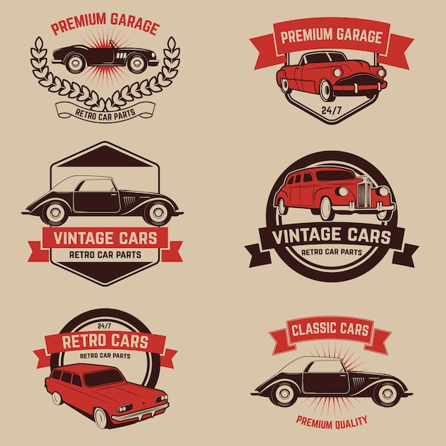 Ensemble d'emblèmes de service de voiture rétro Vecteur Premium
