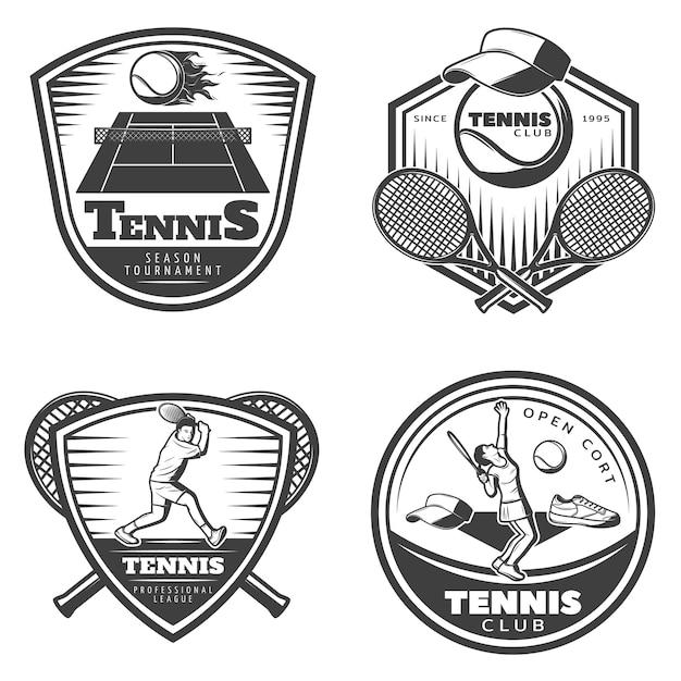Ensemble D'emblèmes De Tennis Vintage Vecteur gratuit