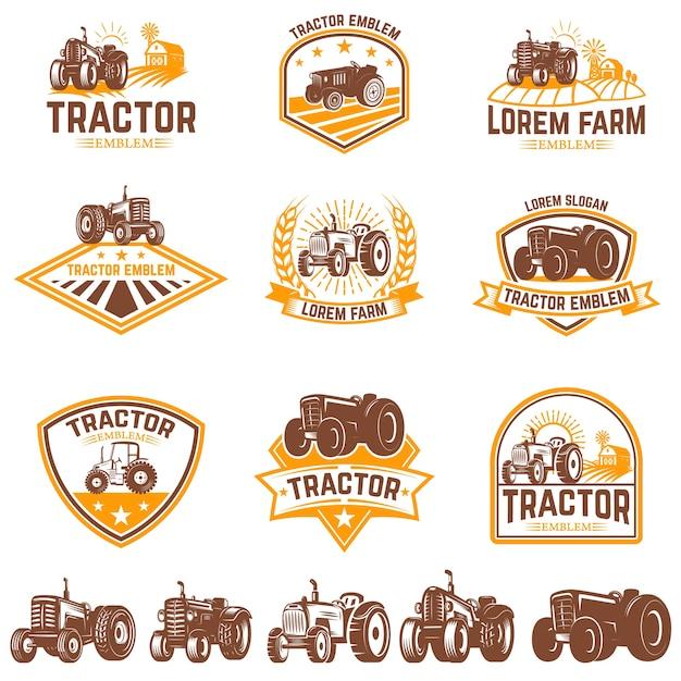 Ensemble D'emblèmes De Tracteur. Marché Des Fermiers. élément Pour Logo, étiquette, Signe. Illustration Vecteur Premium