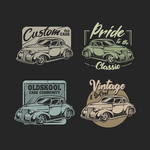 Ensemble d'emblèmes de voitures anciennes avec jeu de couleurs classique Vecteur Premium
