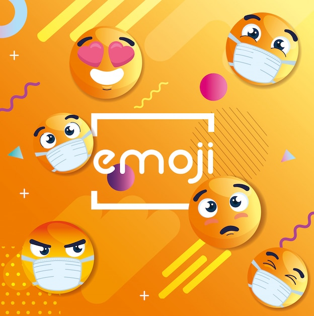 Ensemble D'emoji Portant Des Masques Médicaux, Icônes Pour Coronavirus En Abstrait Géométrique Vecteur Premium