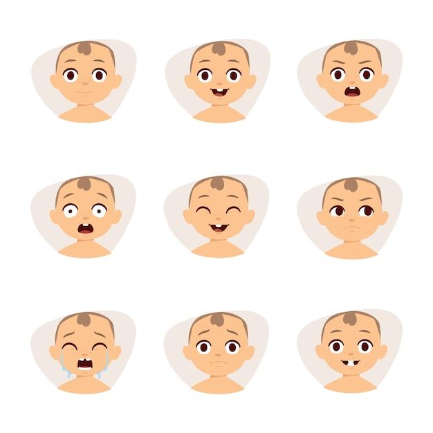 Ensemble d'émoticônes de bébé mignon très simples mais expressifs visages de dessins animés. Vecteur Premium