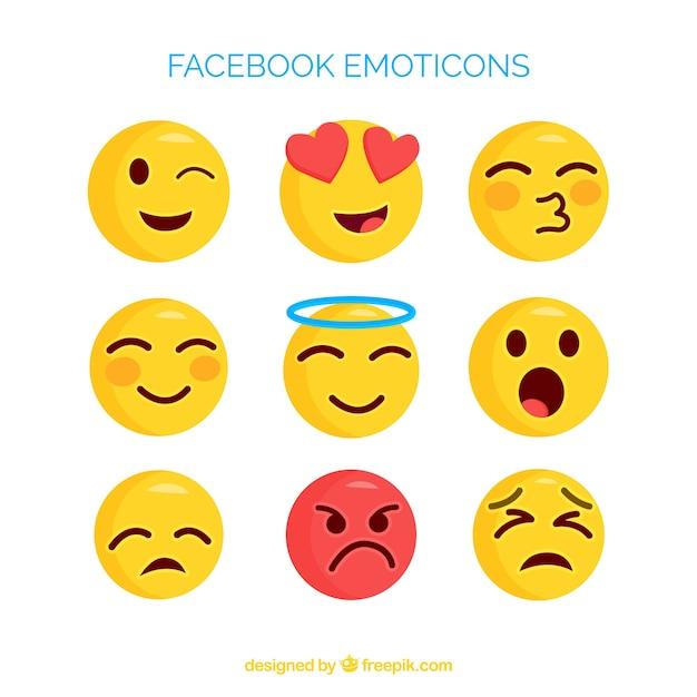 Ensemble d'émoticônes facebook dans un style plat Vecteur gratuit