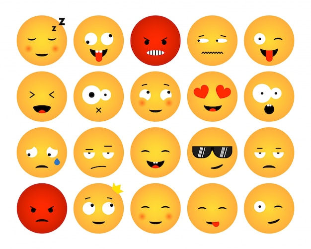 Ensemble D'émoticônes Isolé Sur Fond Blanc. Design Plat De Collections Emoji Pour Les Médias Sociaux, Le Web, L'impression, Les Applications. Illustration Vecteur Premium