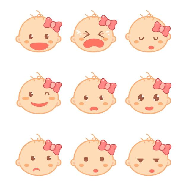 Ensemble d'émotions bébé fille ou enfant en bas âge dans un personnage de dessin animé design plat. développement de bébé et jalons. Vecteur Premium